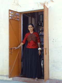 Indian woman in doorway